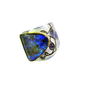 Ring Silber 925, Feingold, Palladium und Boulderopal aus der Goldschmiede Wilpert